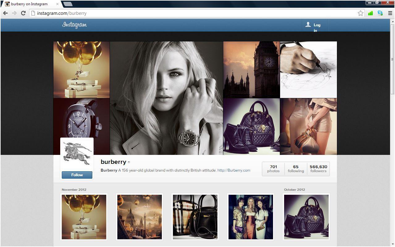 Burberry ion Instagram