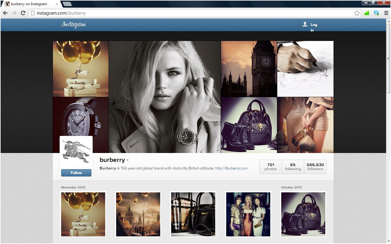 Burberry ion Instagram