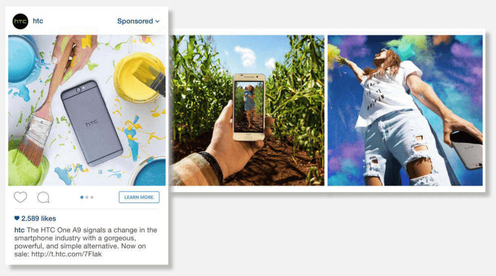 An Instagram carousel ad displays two or more images, with the option for users to scroll through the different images by swiping left or right.