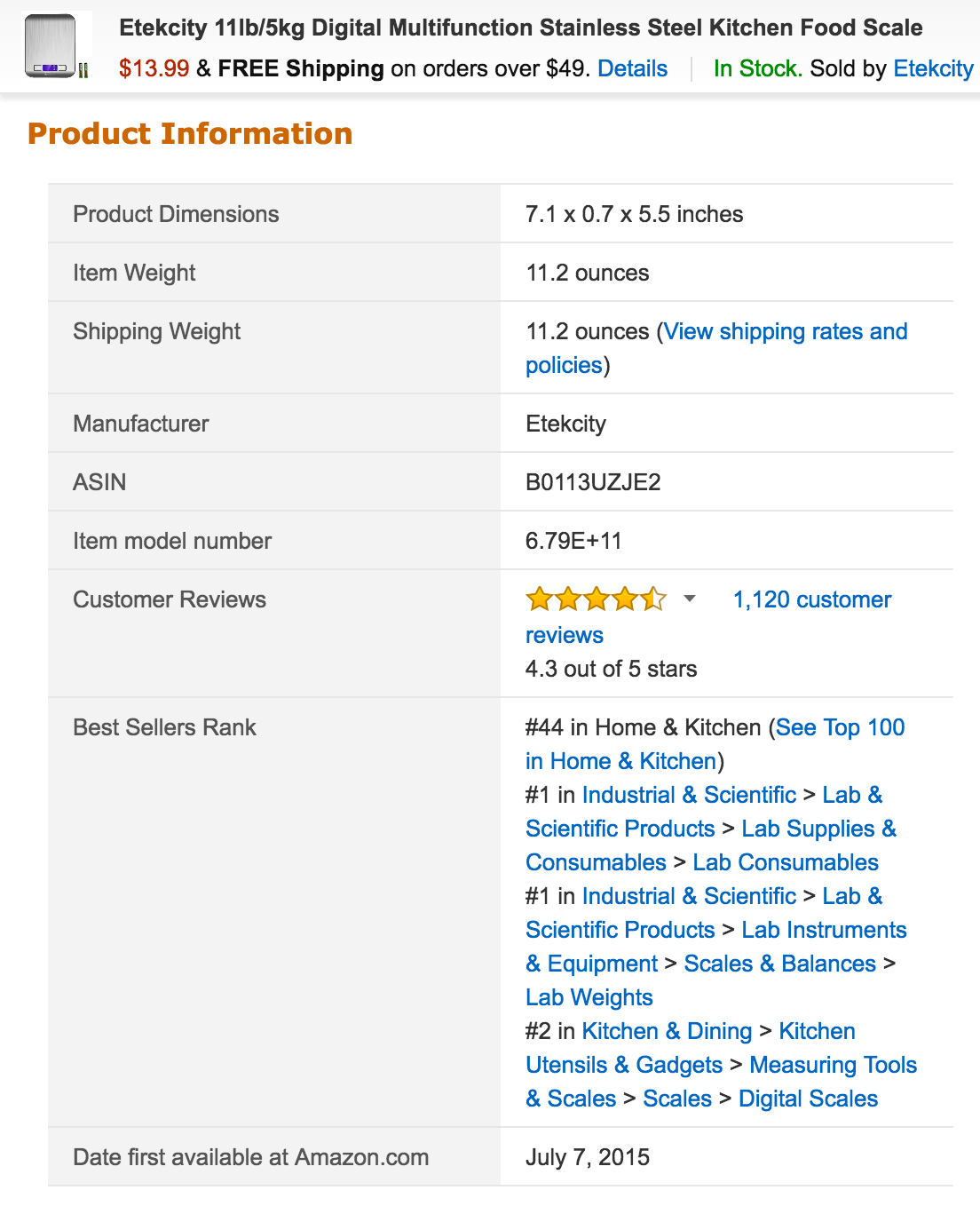 Amazon product page example