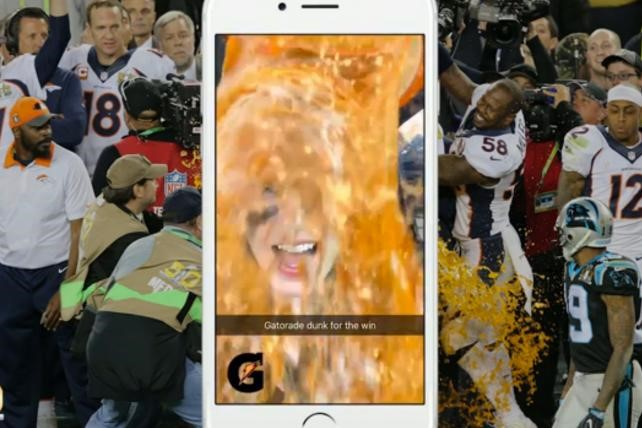 ​During Super Bowl 50, Gatorade attracted a huge amount of attention by cre ating a customised sponsored Snapchat lens aimed at American football fans.