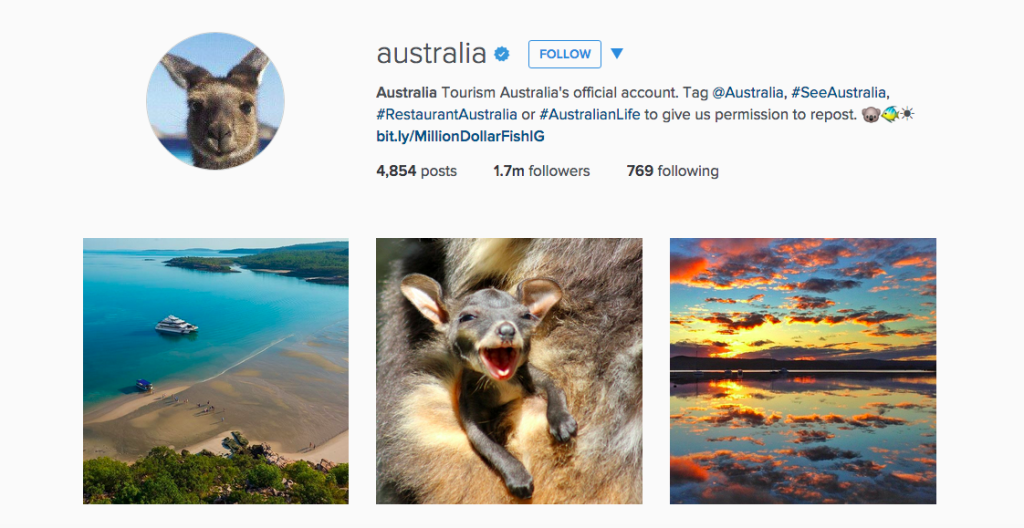 Australia Instagram account