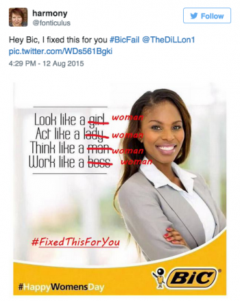 Bic's 'act like a lady, think like a man' campaign backlash on Twitter