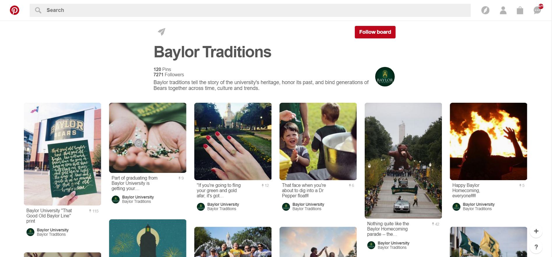 Baylor University Traditional Pinterest page