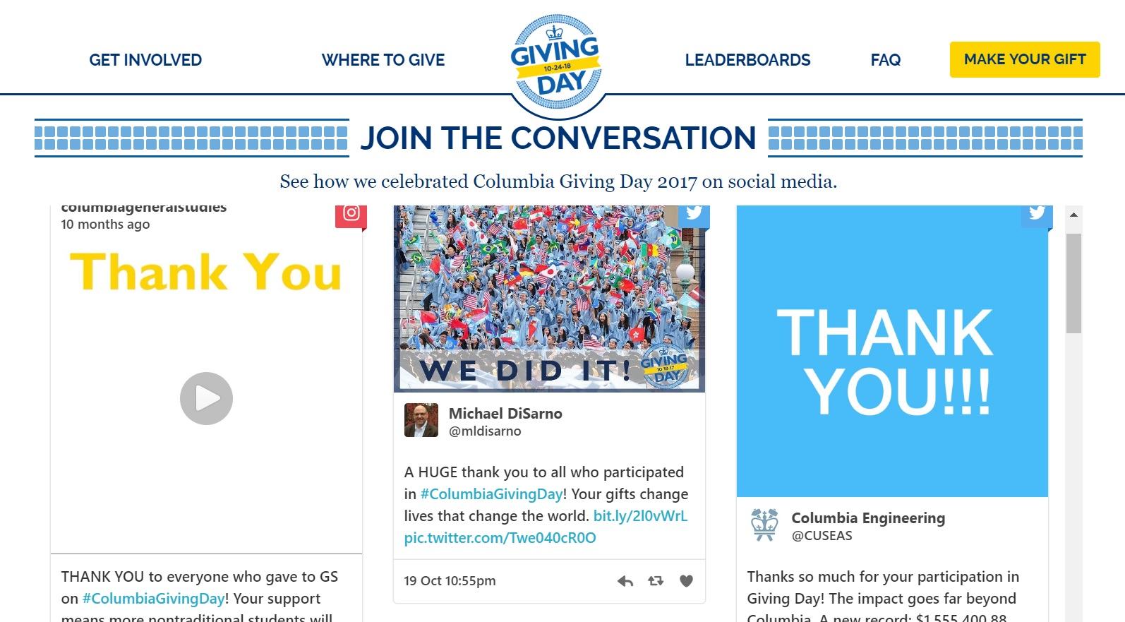 Columbia University 'Giving Day' social media