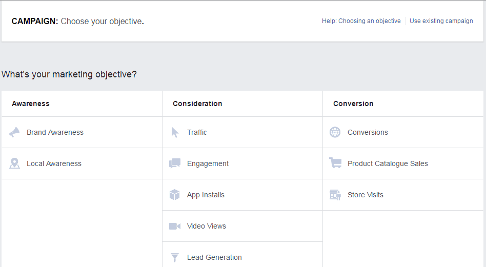 Facebook's Adverts Manager, for example, allows you to create an ad campaign based entirely on such goals.