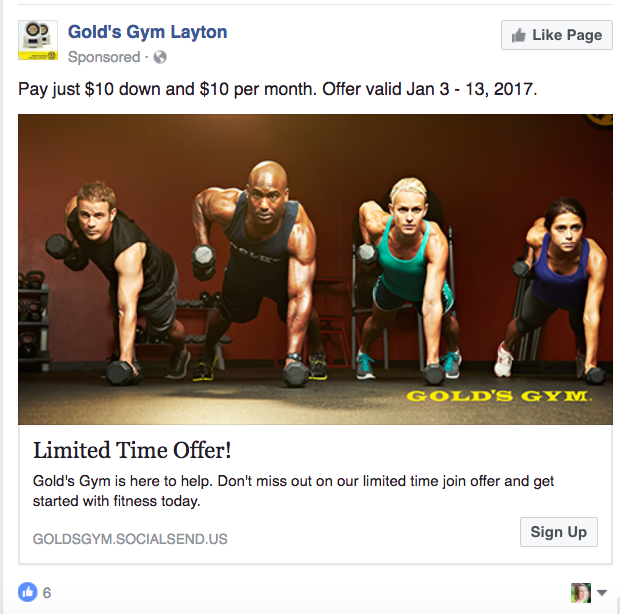 Gold's Gym Facebook page