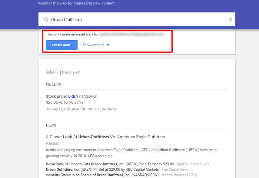 Setting up Google Alerts is another simple way to monitor the competition.