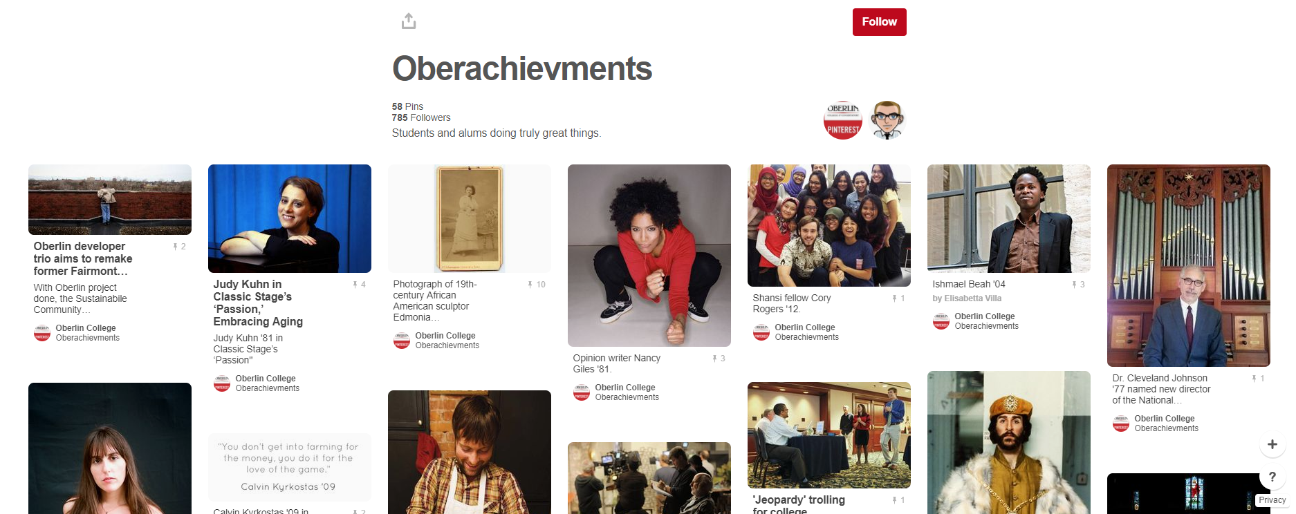 Oberachievements Pinterest board