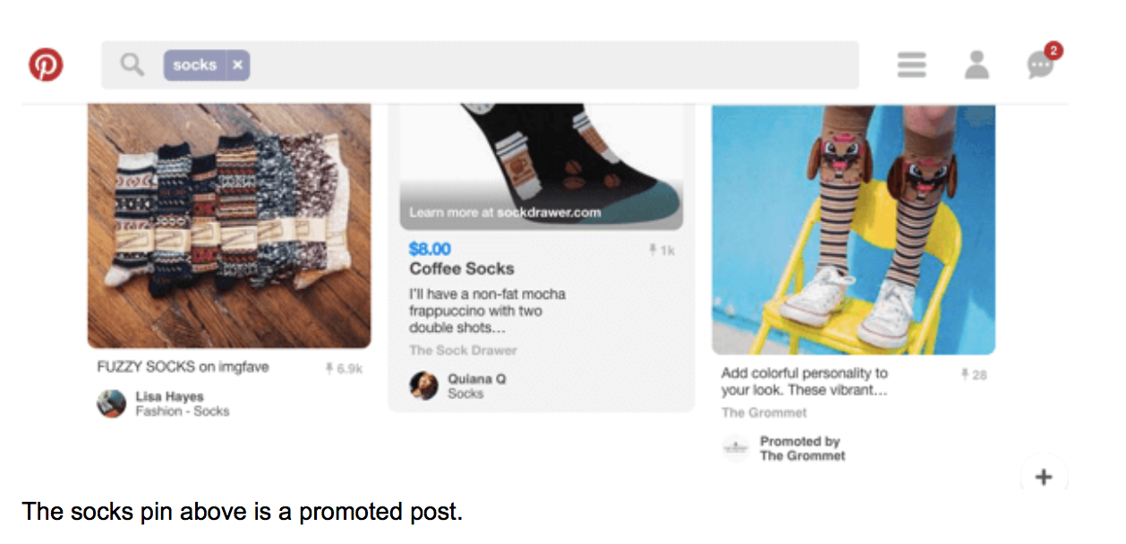 The socks pin above is a promoted post.