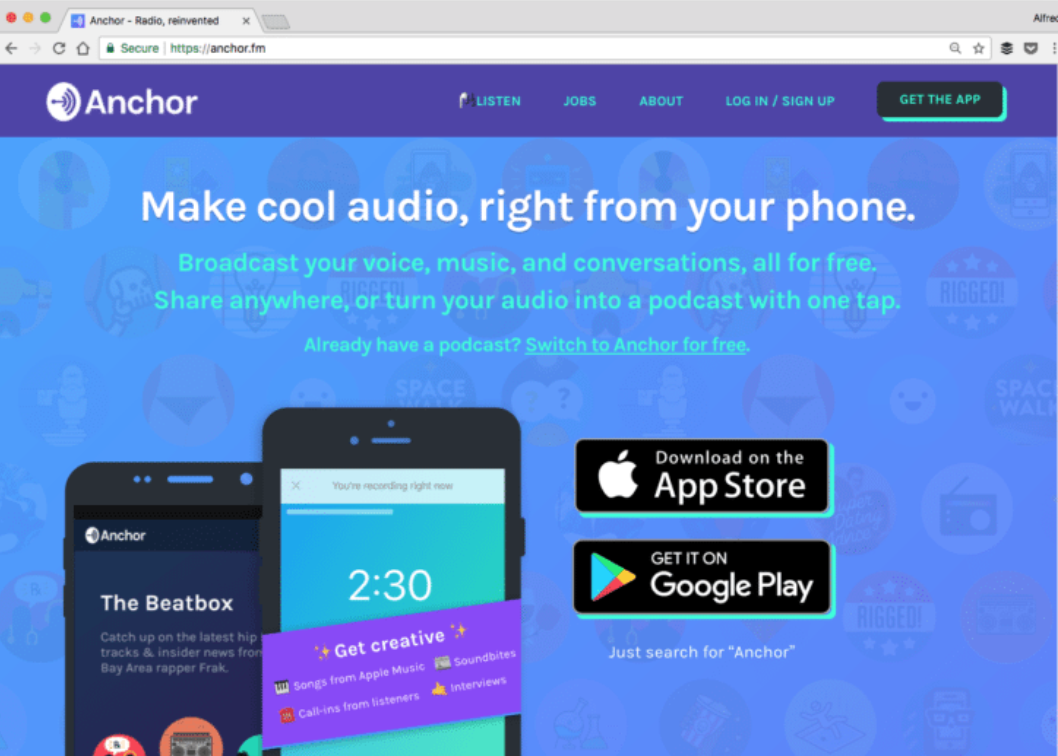 Anchor is a free social media platform for audio. With the Anchor app, users can easily create videos and audio recordings that are perfect for sharing on social media.