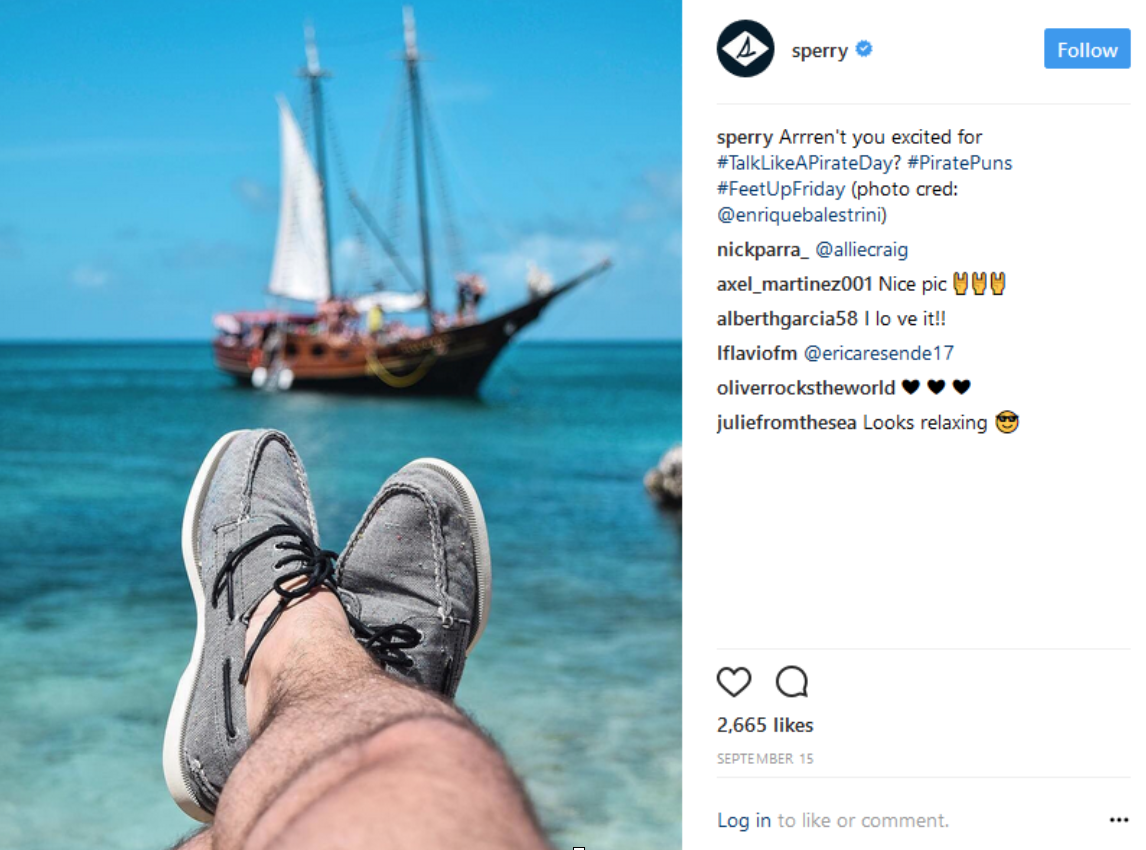 Sperry identifies fans of the brand on Instagram who already shares high-quality photos of their products, and invites these users to develop visual content for their official Instagram account.