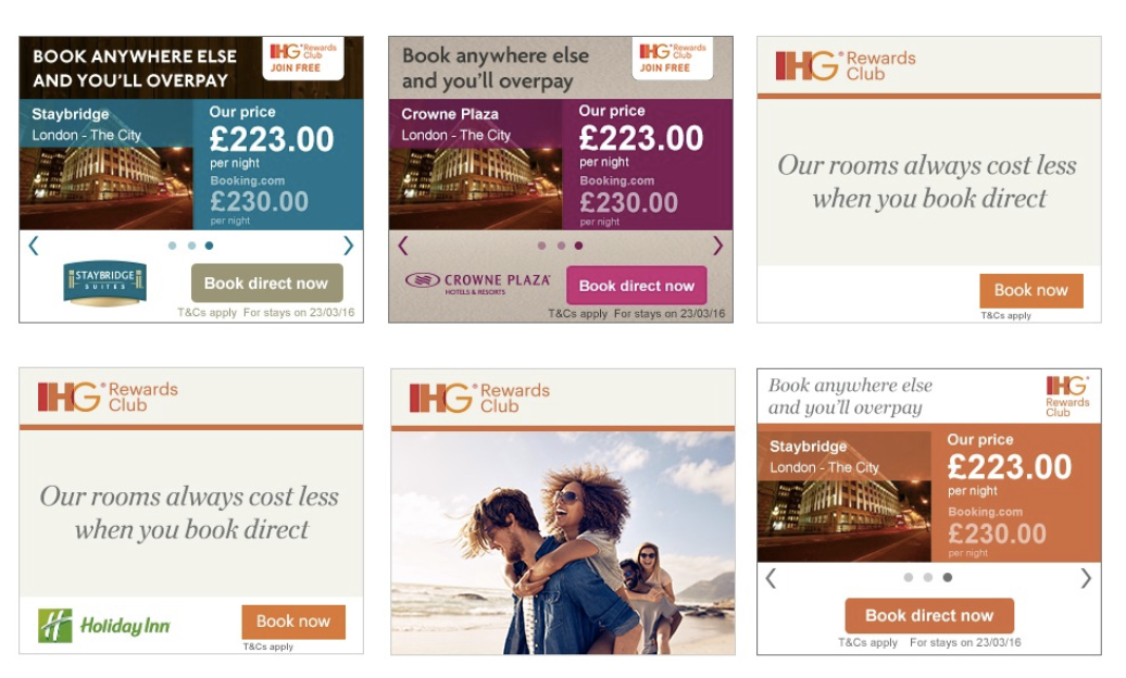 Hotel group IHG, which owns the Holiday Inn and Intercontinental chains, began running programmatic ads to encourage users to book direct, rather than with third-party sites like Expedia or Booking.com.