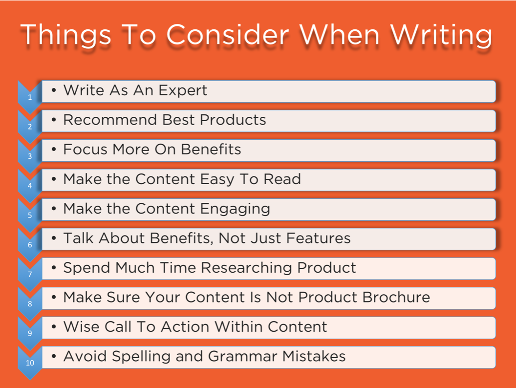 Things to consider when writing. Image Source: Marketever.