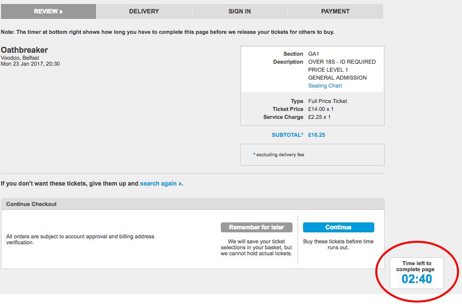 Ticketmaster uses a timer on each landing page through the checkout process.