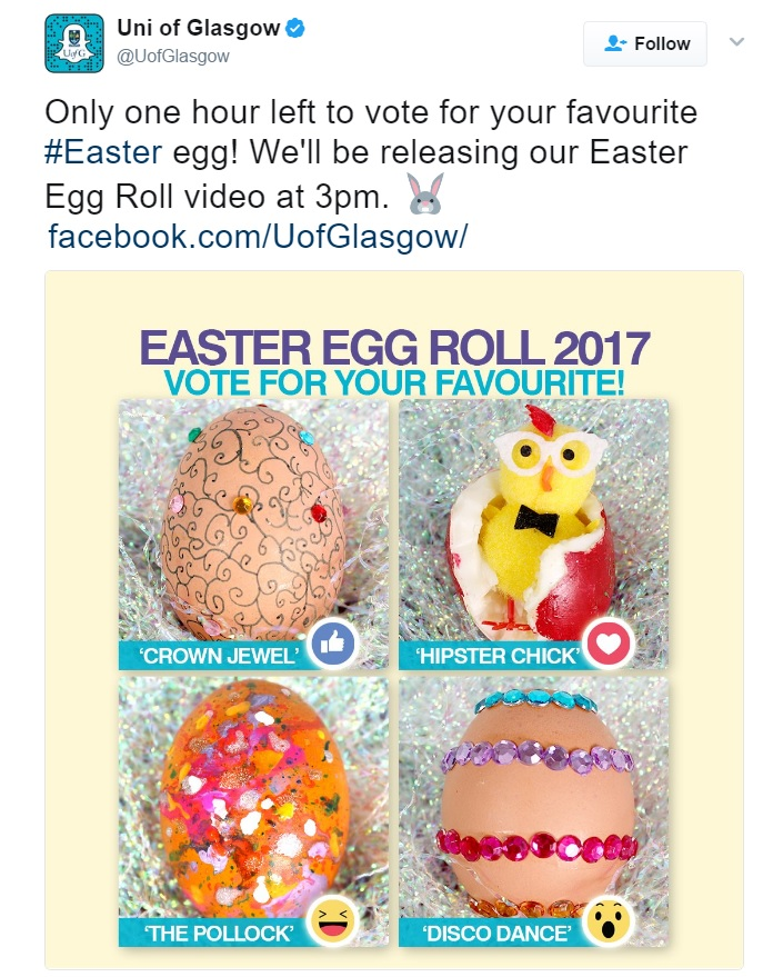 University of Glasgow Easter Egg Roll Twitter post