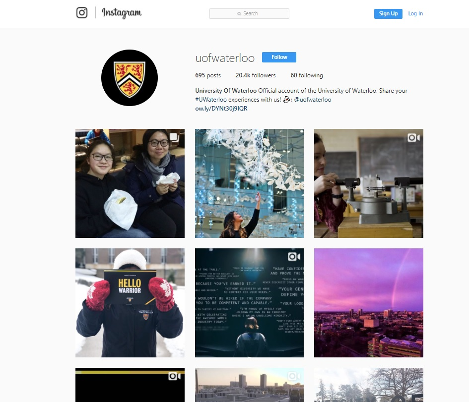 University of Waterloo in Ontario Instagram feed