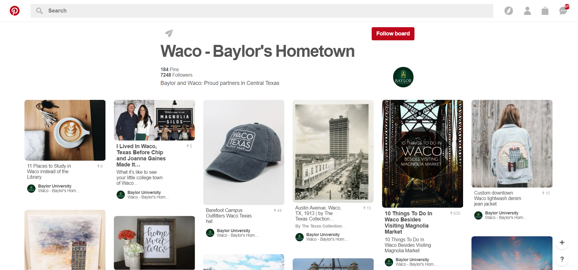 Waco-Baylor Pinterest page