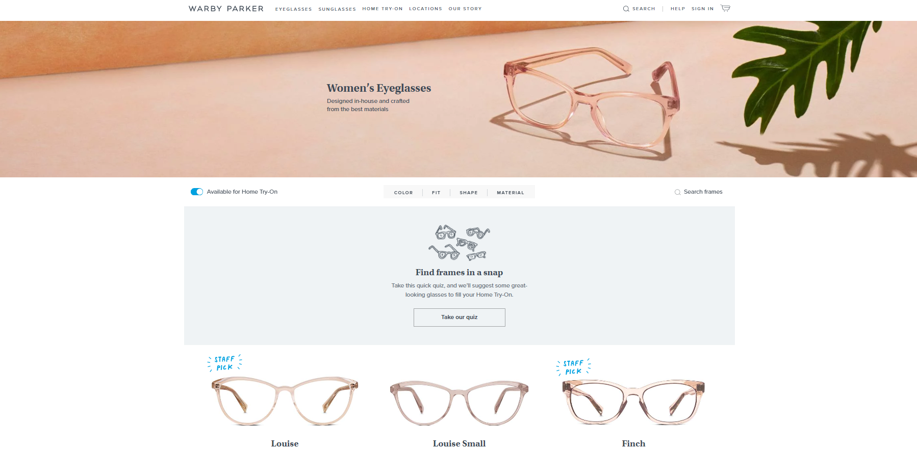 Warby Parker website page