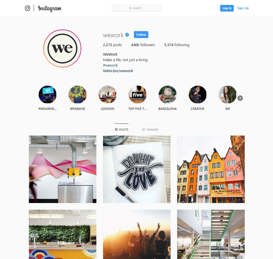WeWork Instagram feed