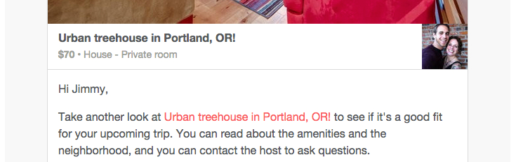 Email sent by Airbnb to improve engagement and win back a booking from a customer.