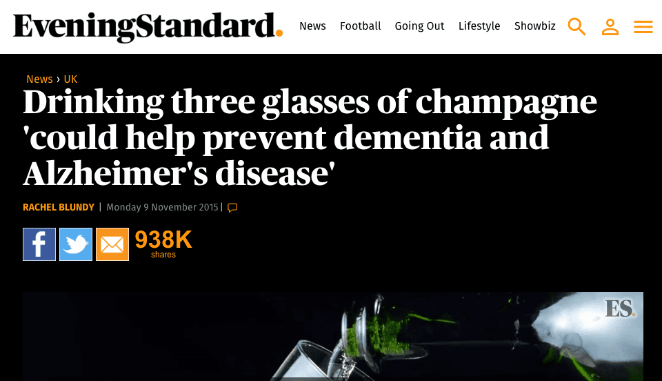 Viral Content - Evening Standard (Drinking three glasses of champagne)