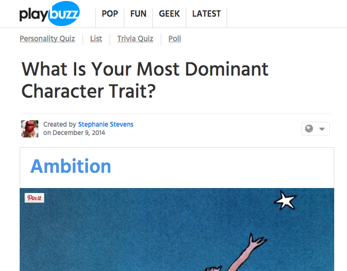 Viral Content - Playbuzz (What is your most dominant character trait)