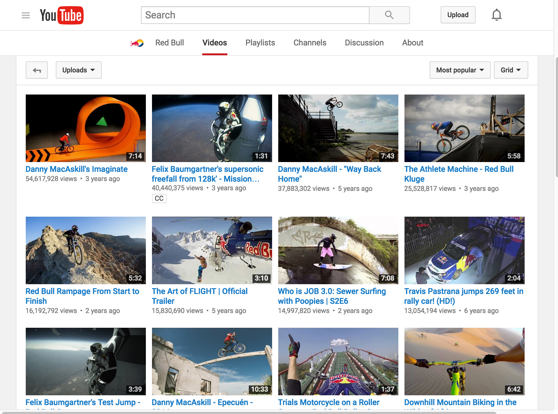 Red Bull YouTube Channel | Digital Marketing Institute Blog