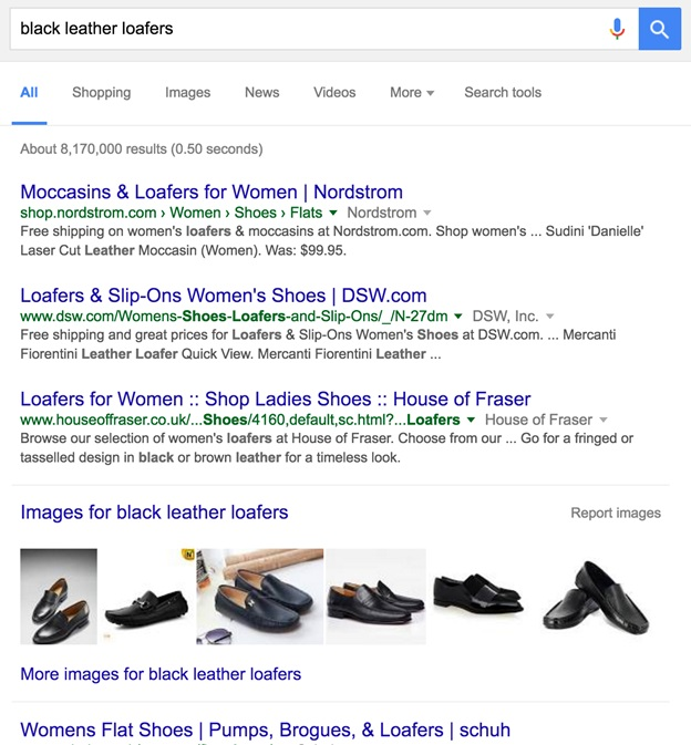 Google Search - Black Leather Loafers | 6 Simple but effective SEO E-Commerce Strategies