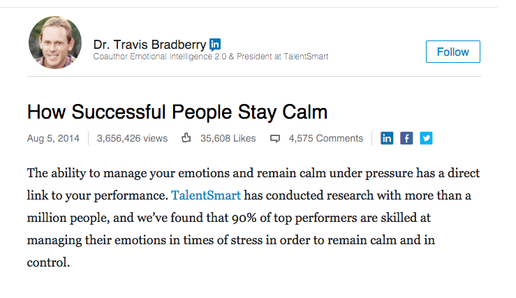 Viral Content - Travis Bradberry (How successful people stay calm)