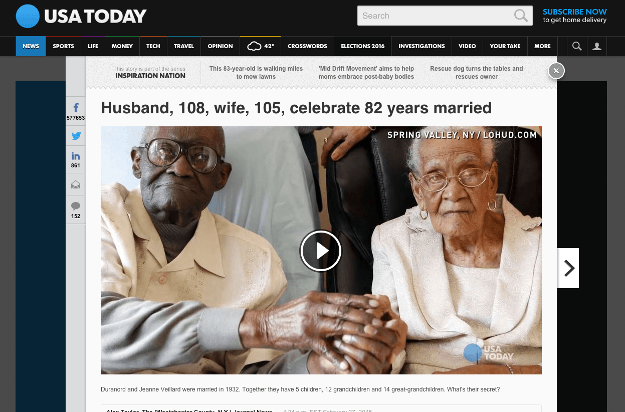 Viral Content - USA Today 82 Years Married