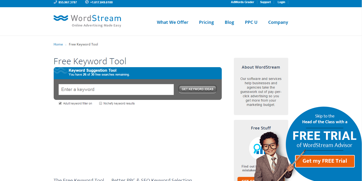 Ultimate SEO Guide - Wordstream Free Keyword Tool