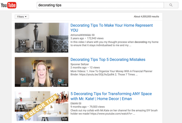This is an example of well optimized YouTube video titles, this time for the keyword decorating tips.