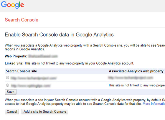 Enable search console data in Google Analytics.