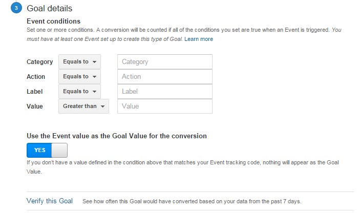 Event Conditions | Google Analytics Goals Guide: How to Set Up And Track Your Bottom-Line KPI's