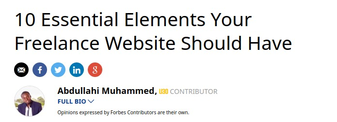 Forbes article 10 Essential Elements Your Freelance Website Should Have boasts a total of 386 social shares