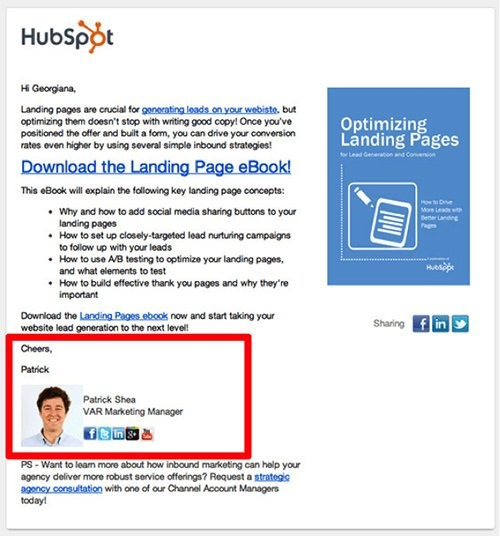 eBook landing pages from HubSpot. Image source: Hubspot via Kissmetrics.