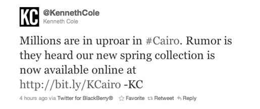 Designer Kenneth Cole took serious flack in 2011 for this tweet.