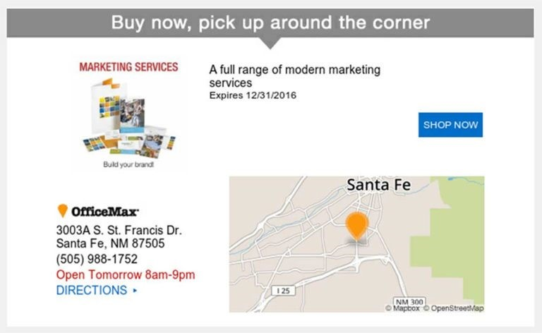 2. Location-Based Emails: OfficeMax often sends promotional messages that include location-specific information. This helps prospects clearly understand their next steps. For example, once the company has location information for its prospects.
