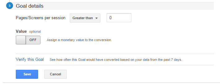Pages/Screens Goals | Google Analytics Goals Guide: How to Set Up And Track Your Bottom-Line KPI's