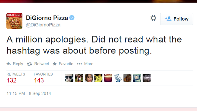Twitter faux pas from DiGiorno Pizza.