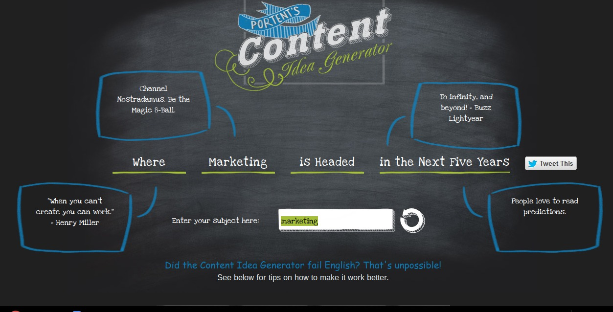 Portent's content generator is easy on the eye and as simple as it gets.