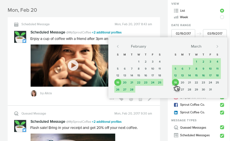 Sprout Social's publishing calendar allows you to schedule posts ahead of time and work as a team to make sure no work s duplicated and you're always covered on your content. Source: SproutSocial