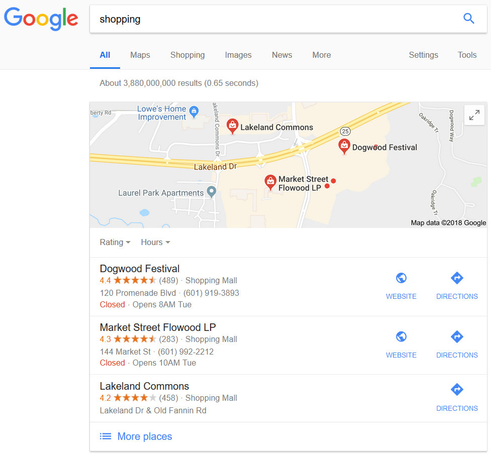 Google local search.